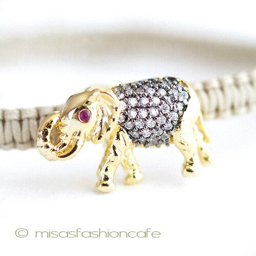 TAI (タイ) ブレスレット GOLD 象 ぞう ゾウ(ベージュ)Tai Jewelry タイジュエリー シルクコード
