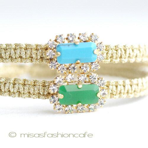 TAI (タイ) ブレスレット 2本セット ビジュー・ターコイズ×グリーン ビジューミサンガTai Jewelry タイジュエリー シルクコード 重ね付け