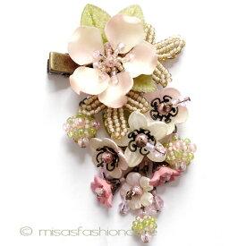 パーティー・ヘアークリップ フラワー カリフォルニア製 お花結婚式 二次会 パーティー ブライダル ヘアアクセサリー 【レターパックライト可】
