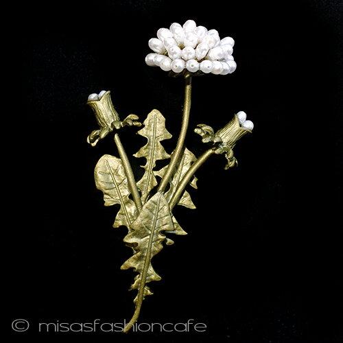 たんぽぽ ブローチパール タンポポの花 ボタニカルジュエリー