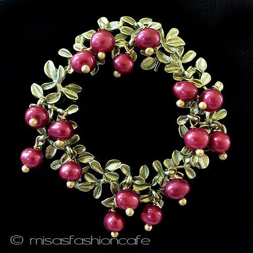 リース ブローチ パールのベリー真珠 ボタニカルジュエリーギフト プレゼント