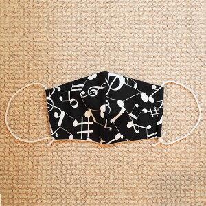 日本製マスク楽譜柄音符柄大人用リネンガーゼマスク予備マスクガーゼ立体布マスク【SINGINGMASKブラック】