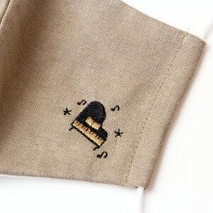 日本製マスク音符柄楽器柄綿麻素材大人用リネンガーゼマスク予備マスクガーゼ立体布マスク耳が痛くならないレディース保湿洗える寝るときおしゃれリネンマスク【刺繍マスク(夏マスク)】