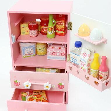 マザーガーデン木製おままごとままごと野いちごプチ冷蔵庫《キューティー柄》木のおもちゃ|いちごイチゴキッチンキッチンセット誕生日プレゼント女の子子供おままごとセットおままごとキッチン知育玩具