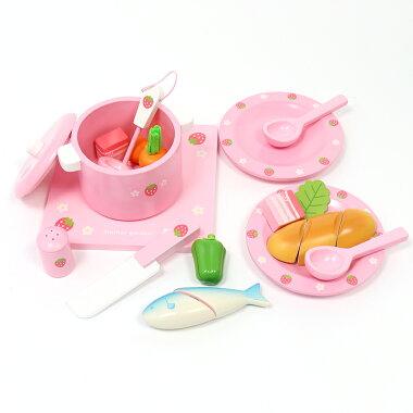 【送料無料】マザーガーデン木製おままごとままごと野いちごグリルキッチン《ピンク》&お料理入門セット キッチンおもちゃ食材子供女の子キッチンセット木のおもちゃ