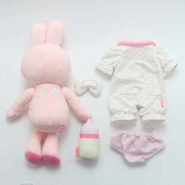 マザーガーデンうさももドール着せ替えぬいぐるみMサイズマスコットはじめてのうさももちゃんベビーうさもも着せ替えごっこきせかえお人形遊び知育玩具女の子おもちゃ女児お世話子供子どもお人形ままごと