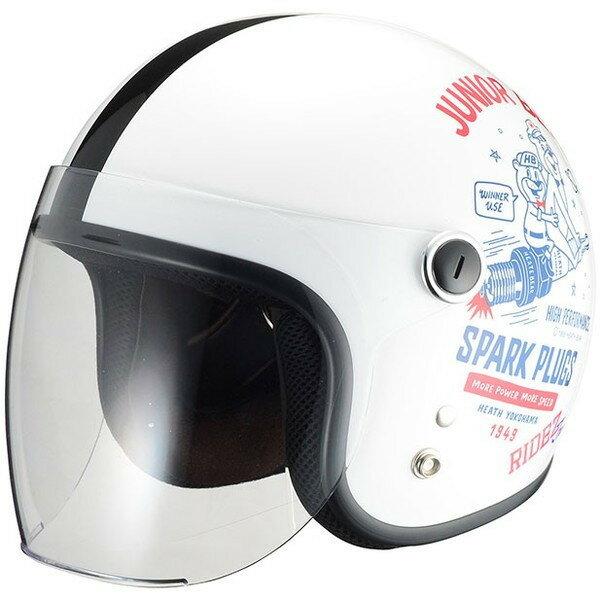 RIDEZ Jr SPARK PLUGS ジェットヘルメット ホワイト/ブルー キッズサイズ(53-54cm)