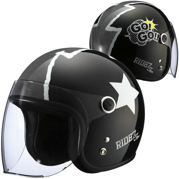 RIDEZ Jr GOGO キッズサイズ ジェットヘルメット ゴーゴー パールブラック