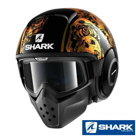 ★送料無料★SHARK DRAK HELMET SANCTUS(サンクタス ) ブラック/オレンジ ダラク ジェットヘルメット <ゴーグル&マスクセット>