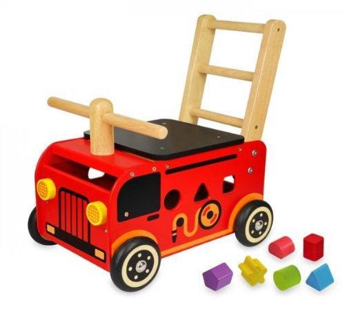 【木のおもちゃ】アイムトイ ウォーカー&ライド 消防車《あす楽》誕生日 1歳 出産祝い ギフト 手押し車 乗用玩具 知育玩具 型はめ パズル 955-8320 アップデート