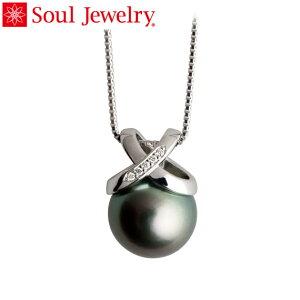 遺骨ペンダント Soul Jewelry 『パール&クロスリング』 ブラックパール・K18 ホワイトゴールド・ダイヤモンド