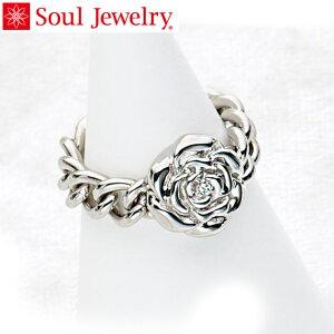 遺骨アクセサリー Soul Jewelry チェーンリング ローズ 遺骨を納めて身につけられる指輪 シルバー925