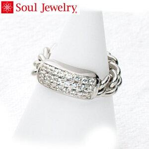 遺骨アクセサリー Soul Jewelry チェーンリング パヴェ 遺骨を納めて身につけられる指輪 シルバー925