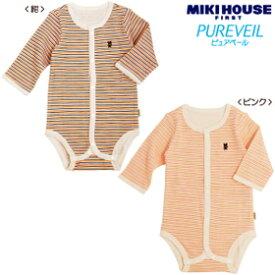 [mikihouse][ミキハウス]ピュアベール天使のはぐ ボーダー長袖フライスボディシャツ(60cm・70cm・80cm)