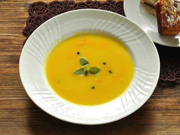 白い食器 ジノリ風アンジェスープ皿23.8cm ホワイトレベル2【美濃焼/通販/器/スープ皿/カフェ風/cafe風】