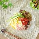 食器 大皿 おしゃれ 日本製 プレート 深皿 深口 冷麺 ガラス アウトレット カフェ風 (P-6369) 流水冷麺皿(せせらぎ)