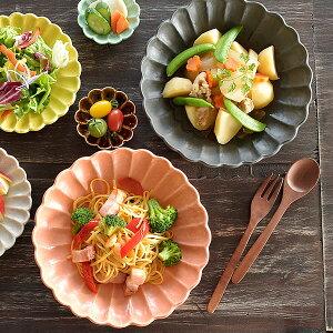 食器 大皿 おしゃれ 和食器 モダン 美濃焼 プレート 大鉢 盛り鉢 花形 花型 アウトレット カフェ風 6色菊形高台大皿