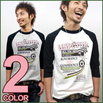 T shirt long-sleeved UNPLUTED MI-215. ne-sorted limited message 3 / 4 sleeve Raglan T shirt XS S M L XL