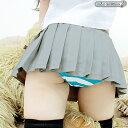 1212A■MB【送料無料・即納】 超ミニ無地プリーツスカート単品 色:グレー サイズ:M/BIG