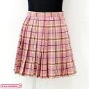 1102A◇【送料無料・即納】 ポケット付きのチェック柄プリーツスカート単品 色:ピンク×キャメル サイズ:M スクール…