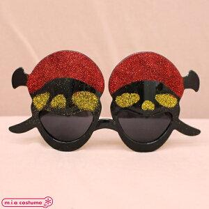 1305D■【送料無料・即納】 海賊ドクロ仮面サングラス単品 色:黒×赤
