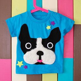 子供服 男の子 女の子 Tシャツ T-shirt フレブル フレンチブルドッグ 犬 frenchbulldog かわいい 個性的 おもしろい 立体的 プレゼント 出産祝い リンクコーデ 90サイズ 100サイズ 110サイズ キッズ ベビー kids baby【star kobura】