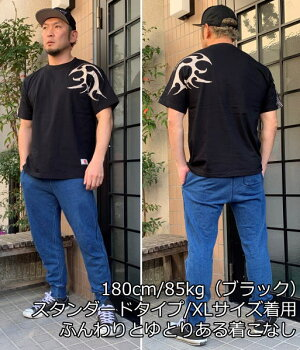 和柄半袖Tシャツ「トライバル翼-spec2-」アメカジビンテージ民族系トライバル送料無料メンズレディースオリジナル大きいサイズ生地手染京友禅代引は通常送料