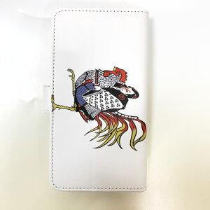 和柄スマホ手帳型ケース「チキンライダー」ホワイトアイフォン専用スマホケースデザインケースiPhoneXSMaxXRiPhone7iPhone8PlusiPhoneXiPhoneケース送料無料携帯ケースiPhoneXRカバー