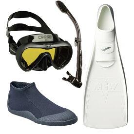 ダイビング マスク [ Cressi ] クレッシー A1 MASK シュノーケル2点セット ダイビング用一眼マスクA1 マスク + ミューフィン 4点セット ダイビング軽器材4点セット [mic-point]