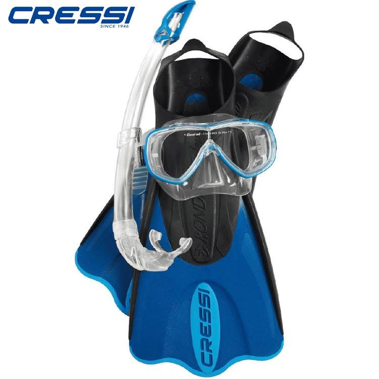 【クレッシーサブ】Cressi シュノーケリング 3点セット ELASTIC SHORT BAG 【マスク / スノーケル / フィン】 収納ケース付 【正規品】 ブルー【02P08Nov18】