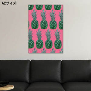 アートパネル パイナップル ピンク 緑 グリーン ポップ POP アクリル 壁掛け お洒落 アート 海外 果物 コントラスト バナナ レモン ペイント モデル 女性 ネオン 人気 ネオンサイン お洒落 高