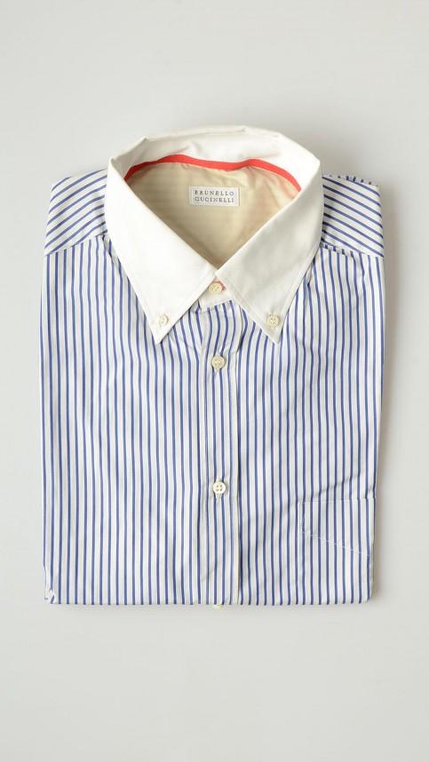 【BRUNELLO CUCINELLI(ブルネロクチネリ)】【メンズ男性用】【100%コットン】【ストライプシャツ ボタンダウンオックスフォードシャツB.Dシャツ ブルーxホワイト青x白】【サイズXXL XXXL】