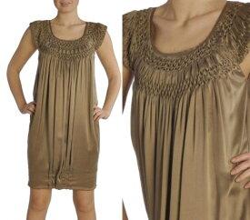 送料無料■レディース女性用■SCERVINO Street(シェルビーノストリート)■100% SILK(シルク)ドレス ゴールドブラウン■サイズ40■ワンピース
