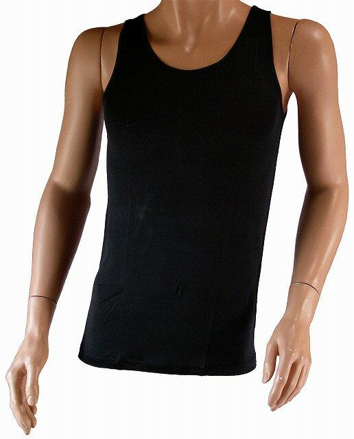 《2枚組》 【シルク100%】 シルクニット紳士(メンズ)タンクトップ ブラック【汗を吸収】【黒】【絹100%】【ネコポス対応可】
