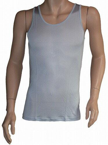《2枚組》 シルク100% シルクニット紳士(メンズ)タンクトップ シルバーグレー【汗を吸収】【絹100%】【ネコポス対応可】