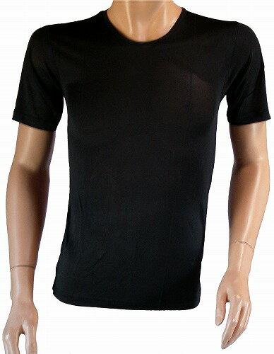 《2枚組》シルク100% シルクニット紳士(メンズ)半袖インナーシャツ ブラック【こだわりシルク】【黒】【汗を吸収】【冷え取り】【絹100%】【シルク 下着】【あったか】【ネコポス対応可】