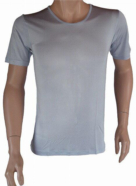 《2枚組》シルク100% シルクニット紳士(メンズ)半袖インナーシャツ シルバーグレー【絹100%】【保温】【ネコポス対応可】