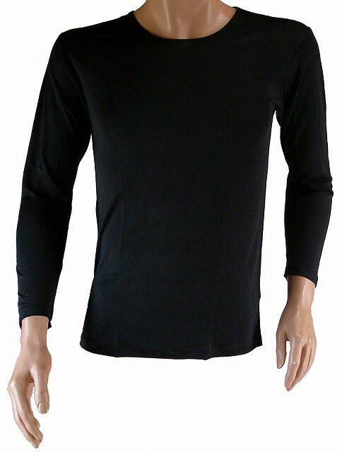 《2枚組 送料無料》【シルク100%】 シルクニット紳士用(メンズ)長袖インナーシャツ ブラック【絹100%】【保温】【ネコポス対応可】