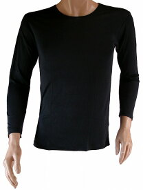《2枚組 送料無料》【シルク100%】 シルクニット紳士用(メンズ)長袖インナーシャツ ブラック【絹100%】【保温】【ネコポス対応】