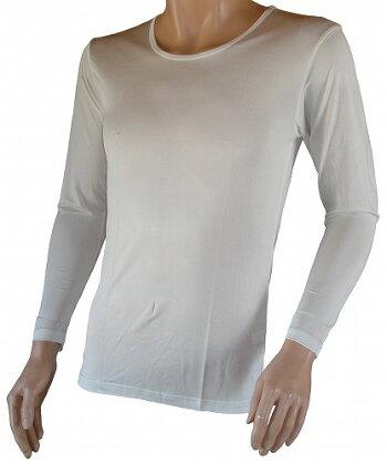 紳士用長袖シルクインナーシャツ☆ホワイト〜メンズ下着・肌着・アンダーウエア(絹製品)