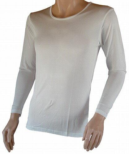 《2枚組 送料無料》シルク100% シルクニット紳士用(メンズ)長袖インナーシャツ ホワイト【絹100%】【白】【保温】【ネコポス対応可】