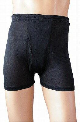 《2枚組》 シルク100% シルクニット紳士トランクス (ボクサーパンツ) ブラック【メンズ】【前開き】【黒】【抗菌】【ネコポス対応可】