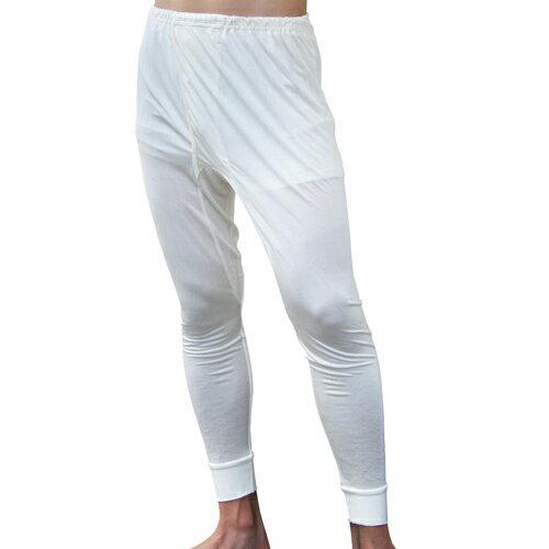 《2枚組》シルク100% シルクニット紳士(メンズ)長ズボン下  ホワイト】【レギンス】【絹100%】【ステテコ】【保温】【ネコポス対応可】