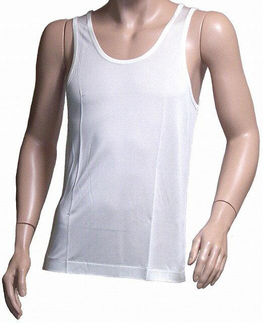 《2枚組》シルクニット紳士(メンズ)ランニングシャツ ホワイト 【シルク100%】【絹100%】【ネコポス対応可】