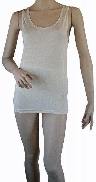 《2枚組》 【シルク100%】 シルクニットのタンクトップ   ホワイト【汗を吸収】【白】【絹】【肌着】【下着】【インナー】【吸汗】【ネコポス対応可】