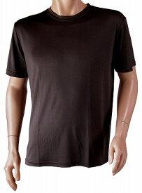 紳士用シルクニット・ラウンドネック半袖Tシャツ(メンズ) ブラック (メンズTシャツ)