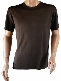 紳士用シルクニット・ラウンドネック半袖Tシャツ(メンズ) ダークブラウン(メンズTシャツ)