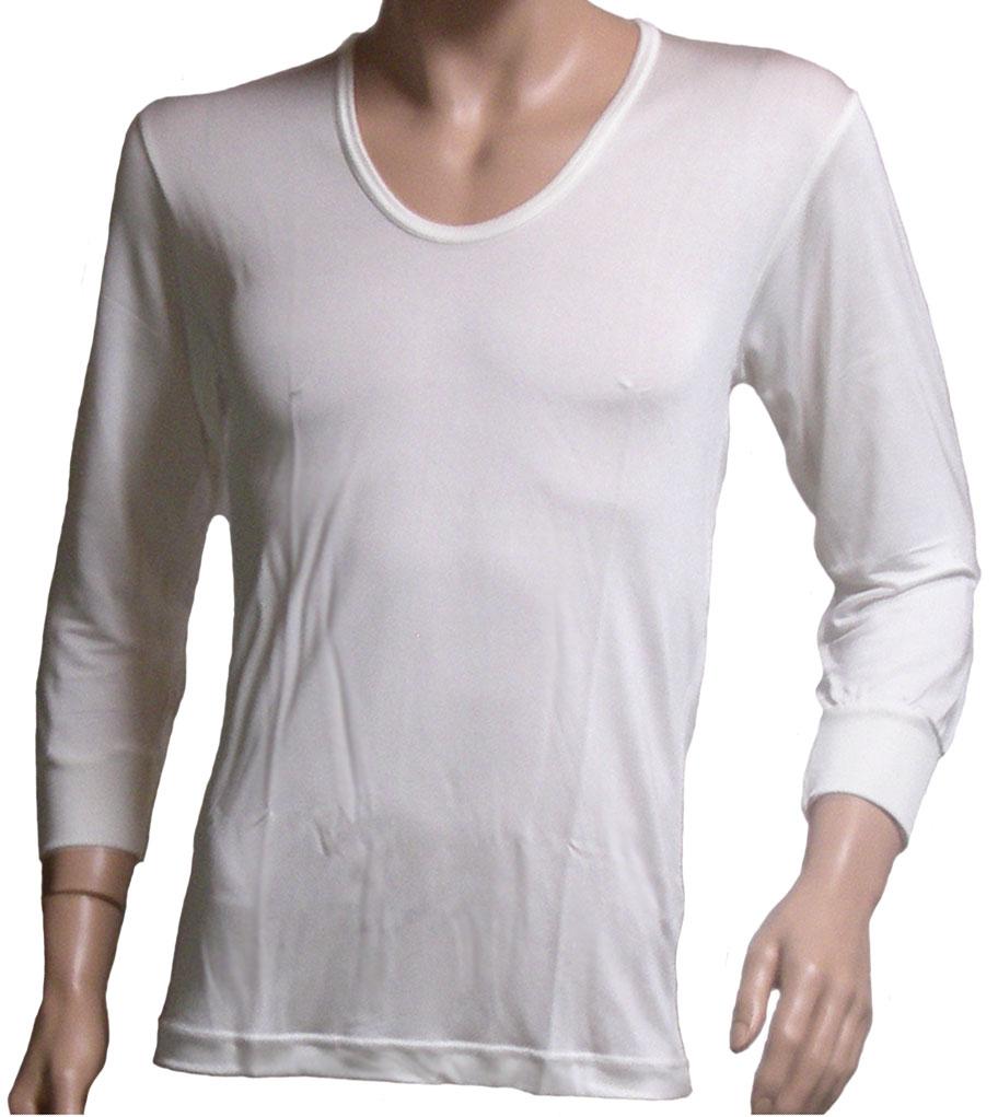《2枚組》シルク100% シルクニット紳士(メンズ)U首長袖シャツ ホワイト【絹100%】【ネコポス対応可】