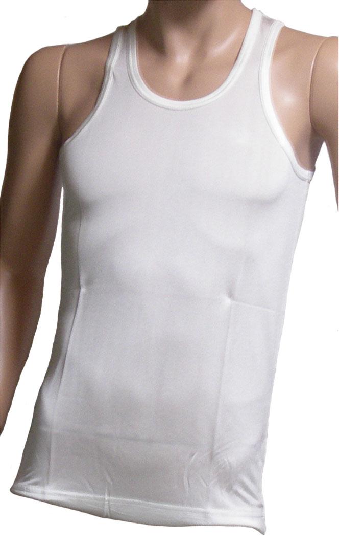 《2枚組》 シルクニット紳士(メンズ)U首ランニングシャツ ホワイト【シルク 100%】【白】【絹100%】【ネコポス対応可】