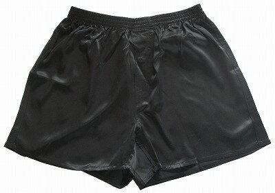 《2枚組》 シルク100% ボクサータイプのシルクサテン・トランクス ブラック【メンズ】【前開き】【絹100%】【黒】【ネコポス対応可】